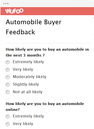 Automobile Buyer Feedback