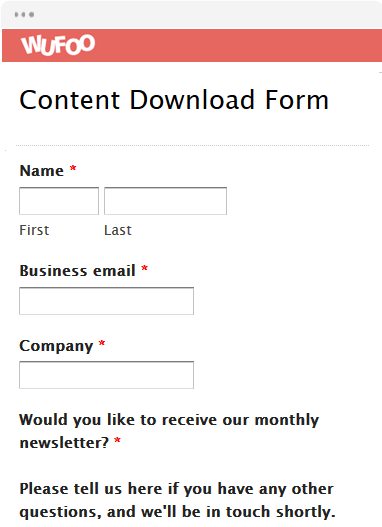 Content Download Form
