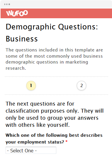 Demographic Questions: Business