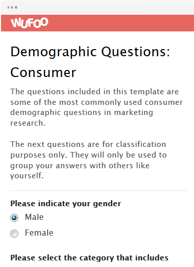 Demographic Questions: Consumer