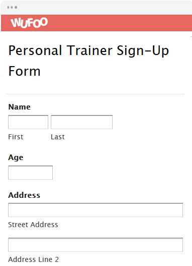 Personal Trainer Sign-Up Form