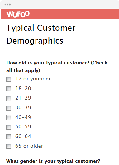 Typical Customer Demographics