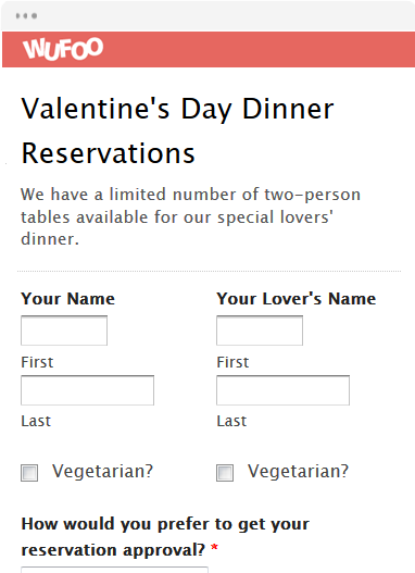 Valentine's Day Dinner Reservations