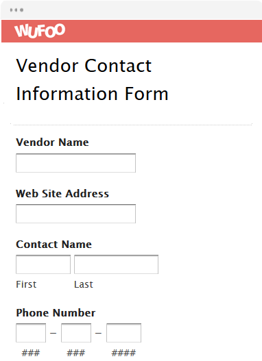 Vendor Contact Information Form
