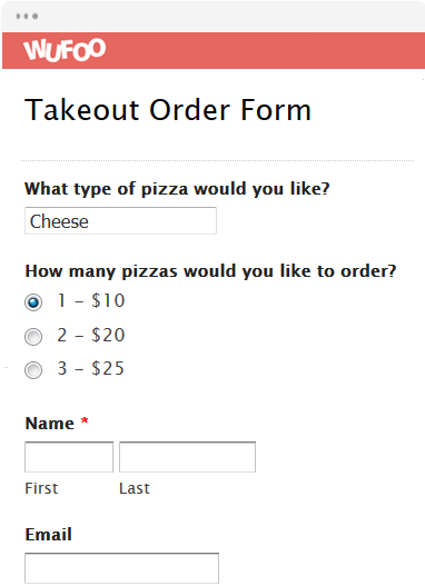 Takeout Order Form