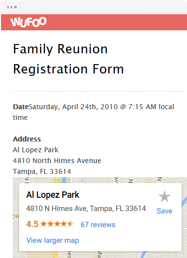 Family Reunion Registration Form