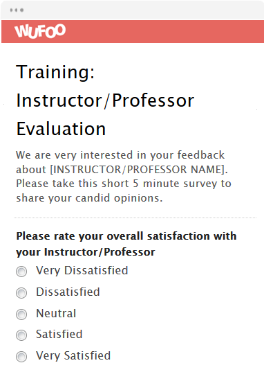 Training: Instructor/Professor Evaluation