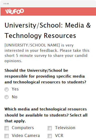 University/School: Media & Technology Resources
