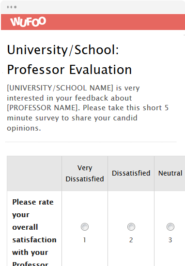 University/School: Professor Evaluation