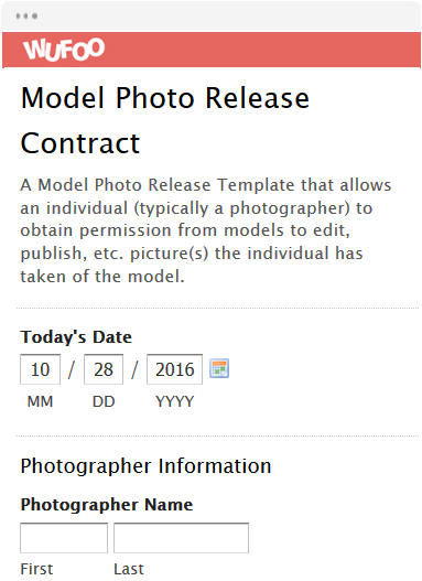 Model Photo Release Contract