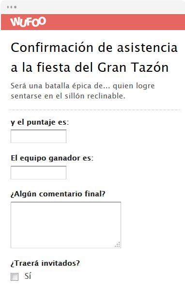 Confirmación de asistencia a la fiesta del Gran Tazón