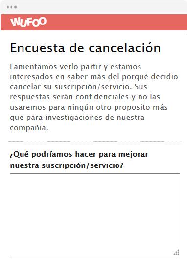 Encuesta de cancelación