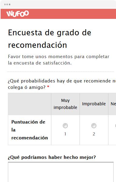 Encuesta de grado de recomendación