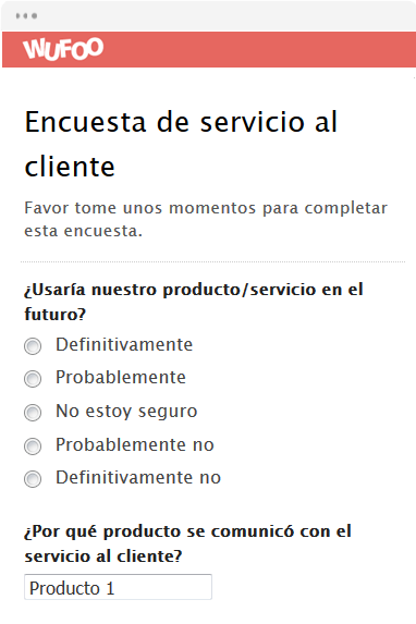 Encuesta de servicio al cliente