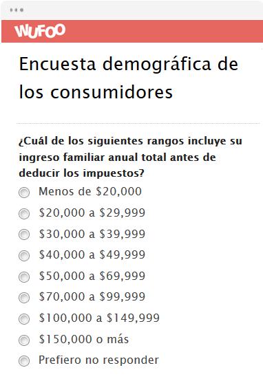 Encuesta demográfica de los consumidores