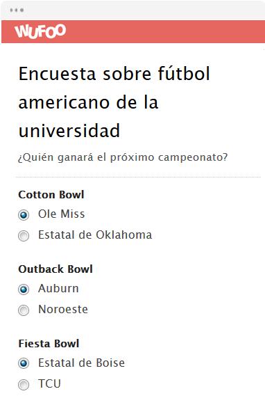 Encuesta sobre fútbol americano de la universidad