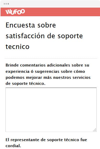 Encuesta sobre satisfacción de soporte tecnico