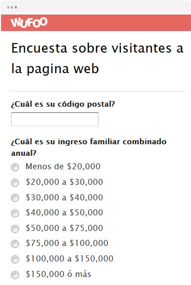 Encuesta sobre visitantes a la pagina web