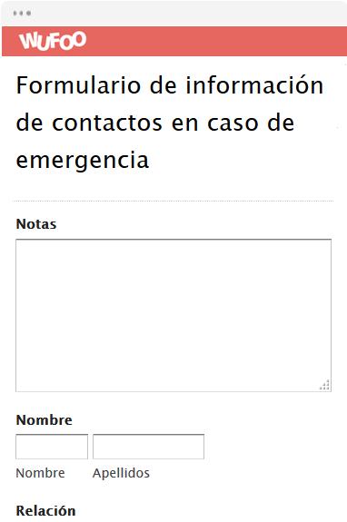 Formulario de información de contactos en caso de emergencia