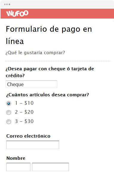 Formulario de pago en línea