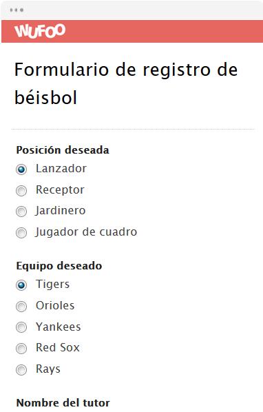 Formulario de registro de béisbol