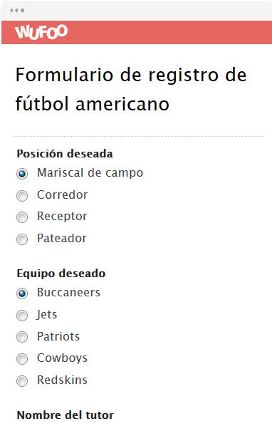 Formulario de registro de fútbol americano