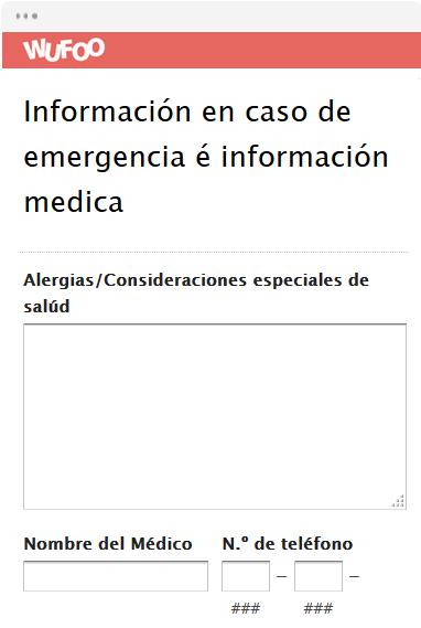 Información en caso de emergencia é información medica
