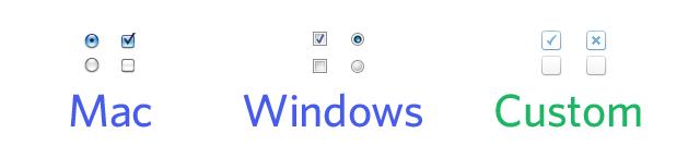 Botones de opción y casillas de verificación predeterminados